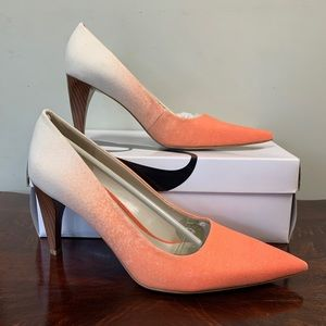 NIB Nine West Orange Aurra Pointed Toe Heels 7.5